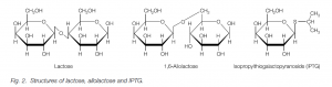 Structure of lactose,allolactose,IPTG